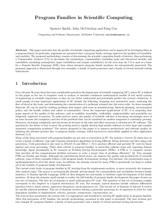 Program Families in Scientific Computing                                Spencer Smith, John McCutchan and Fang Cao         ...