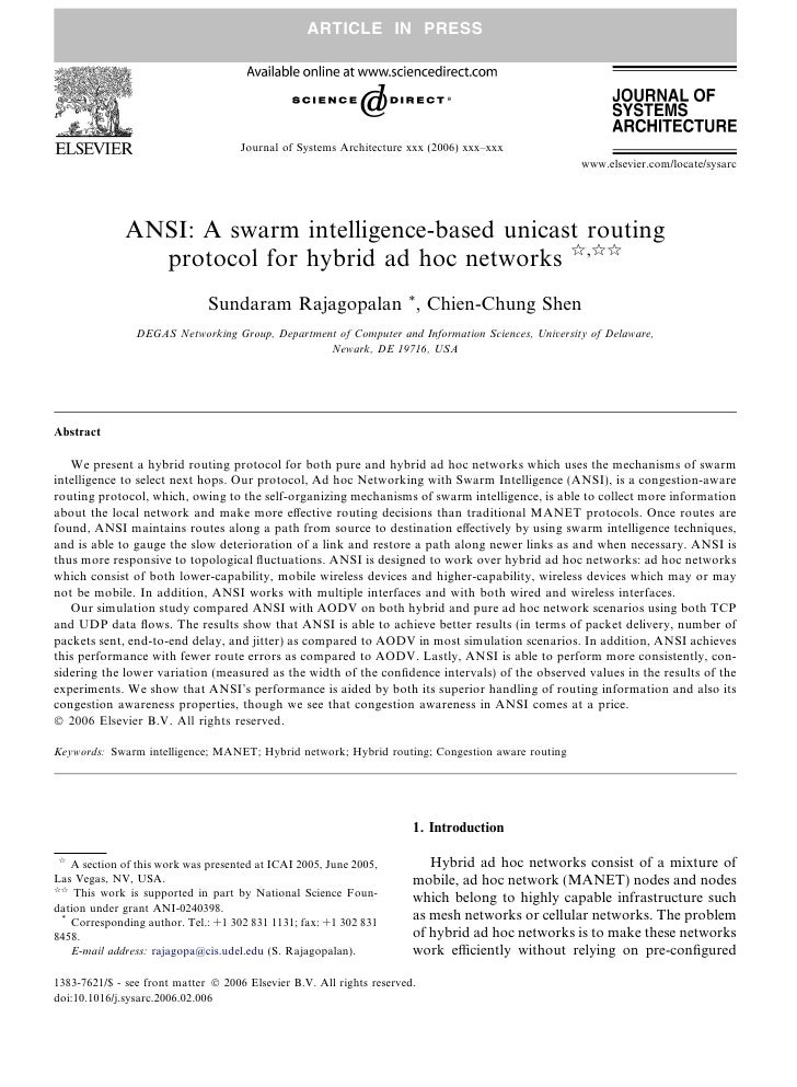 A swarm intelligence-based unicast routing protocol for hybrid ad hoc networks