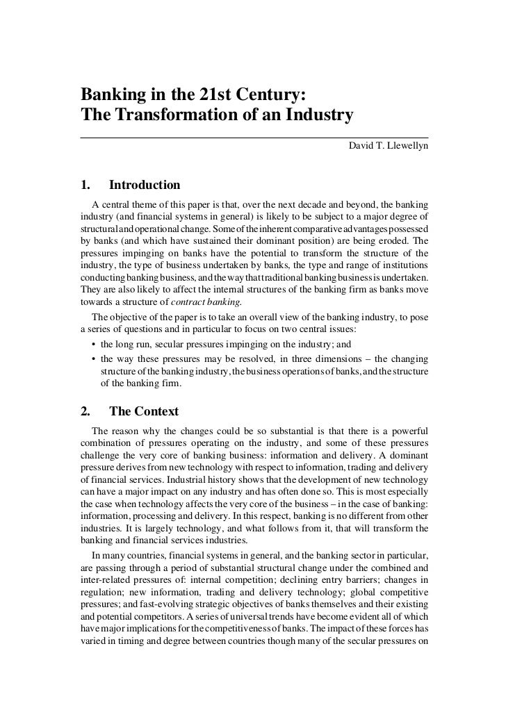 Banking in the 21st Century:The Transformation of an Industry                                                             ...