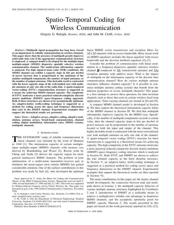 IEEE TRANSACTIONS ON COMMUNICATIONS, VOL. 46, NO. 3, MARCH 1998                                                           ...