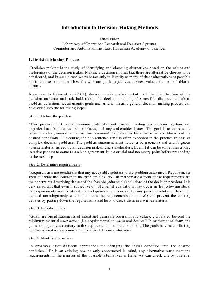 Introduction to Decision Making Methods                                         János Fülöp                   Laboratory o...