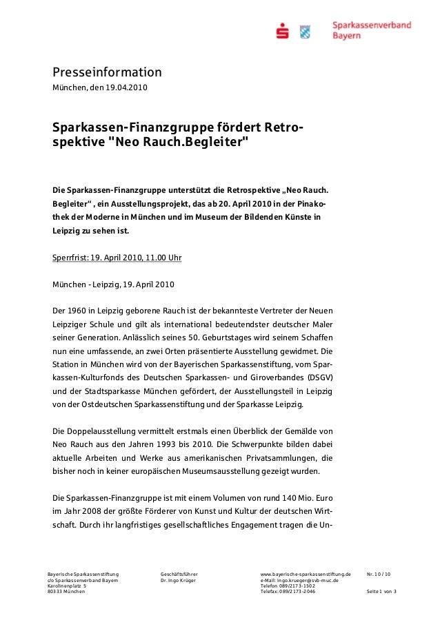 Presseinformation München, den 19.04.2010 Bayerische Sparkassenstiftung Geschäftsführer www.bayerische-sparkassenstiftung....