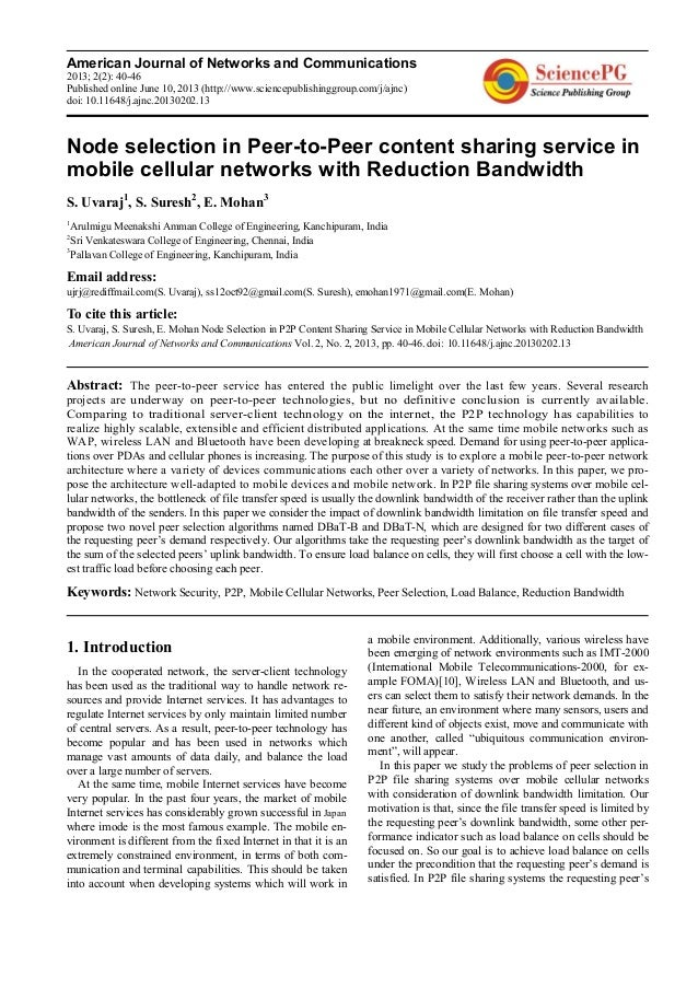 American Journal of Networks and Communications2013; 2(2): 40-46Published online June 10, 2013 (http://www.sciencepublishi...