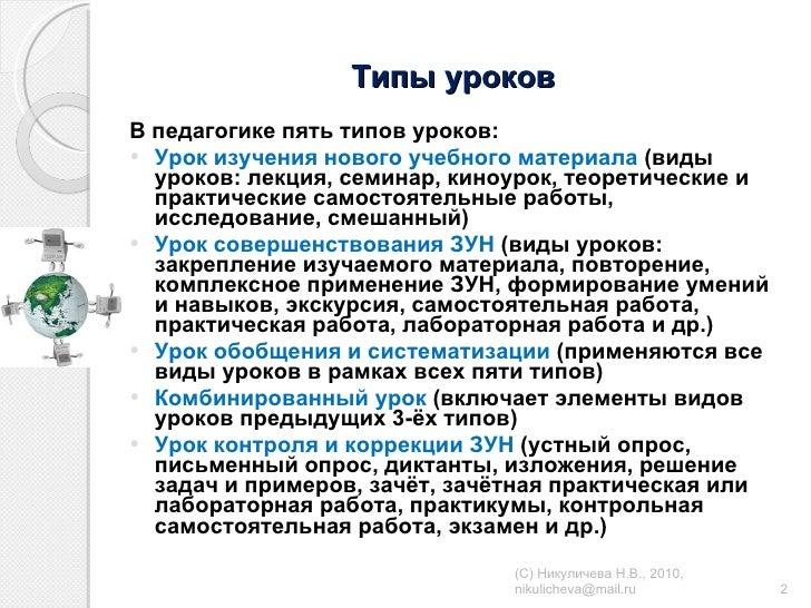 Типы уроков <ul><li>В