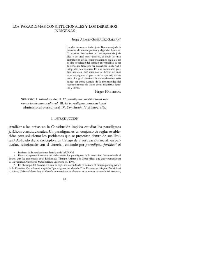 Los paradigmas constitucionales y los derechos indigenas Jorge Alberto Gonzales Galvan