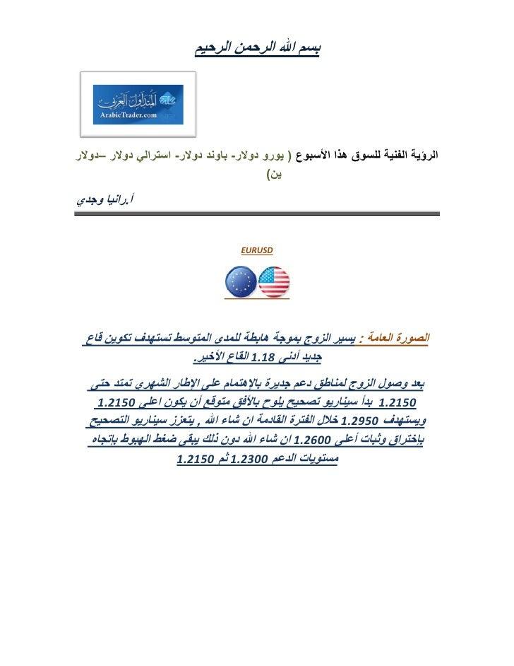 تحليل فني ندوة السوق هذا الأسبوع 10 يونيو أ.رانيا وجدي المتداول العربي