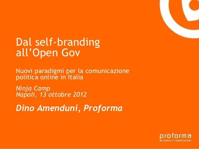 Dal self-brandingall'Open GovGianni Florido e laNuovi paradigmi per la comunicazionepolitica online in ItaliaTarantoProvin...