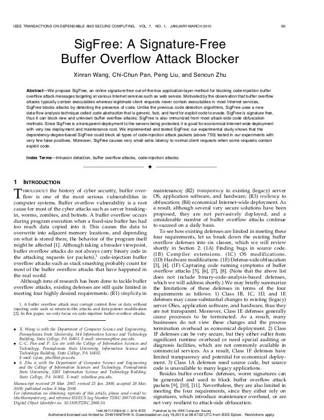 10.  sig free a signature free buffer overflow attack blocker