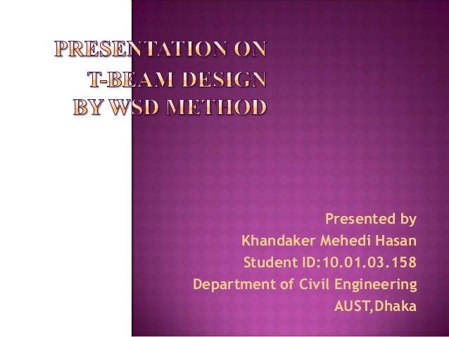 T beam design by WSD method