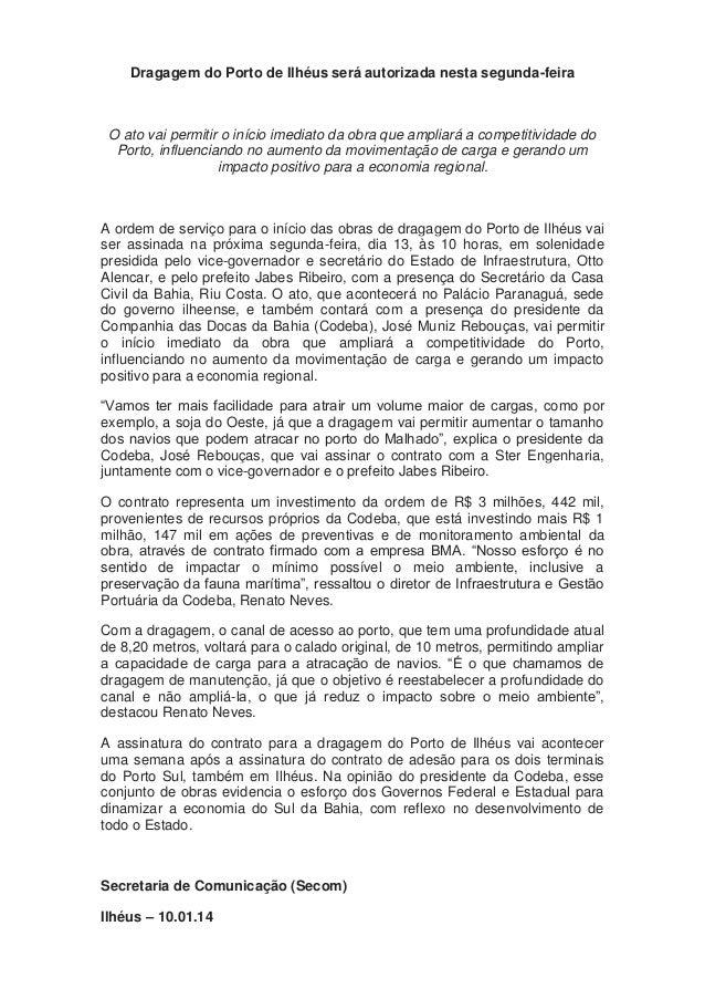 10.01.14 dragagem do Porto de Ilhéus será autorizada nesta segunda
