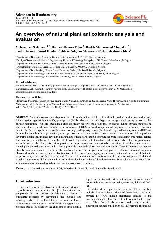 Advances in Biochemistry 2013; 1(4): 64-72 Published online November 10, 2013 (http://www.sciencepublishinggroup.com/j/ab)...