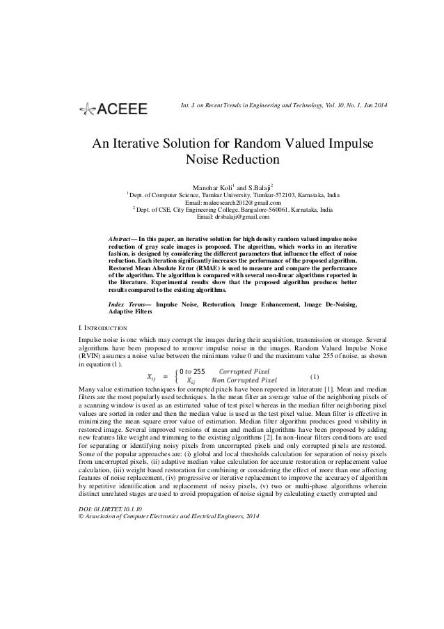 Int. J. on Recent Trends in Engineering and Technology, Vol. 10, No. 1, Jan 2014  An Iterative Solution for Random Valued ...