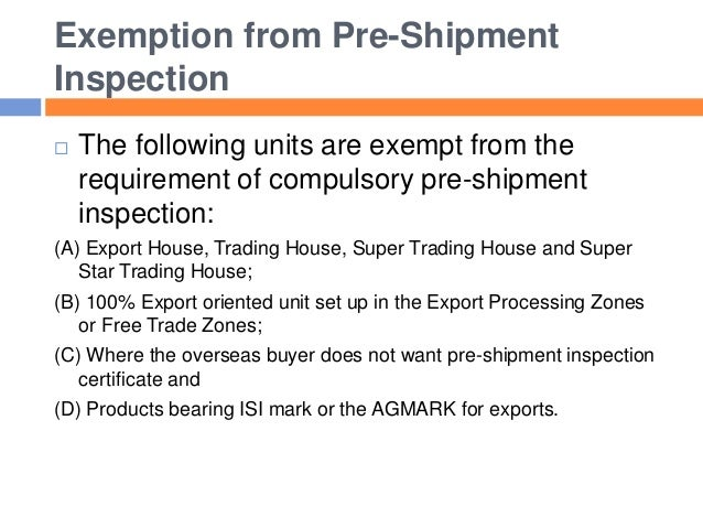 incoterms pre shipment inspection Pre-shipment inspection of imports for the democratic republic of place from the very first shipment destination inspection: food pre-packaged.