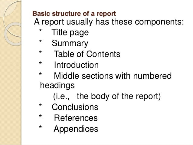 report writing structure