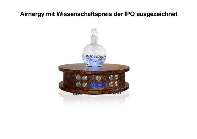 Airnergy mit Wissenschaftspreis der IPO ausgezeichnet