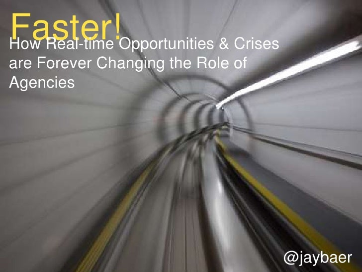Faster! <br />How Real-time Opportunities & Crises are Forever Changing the Role of Agencies<br />@jaybaer<br />