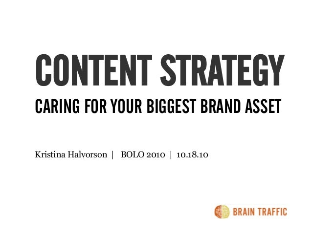 CONTENT STRATEGY CARING FOR YOUR BIGGEST BRAND ASSET Kristina Halvorson | BOLO 2010 | 10.18.10