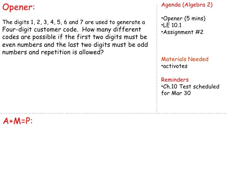 Opener:                                                    Agenda (Algebra 2)                                             ...
