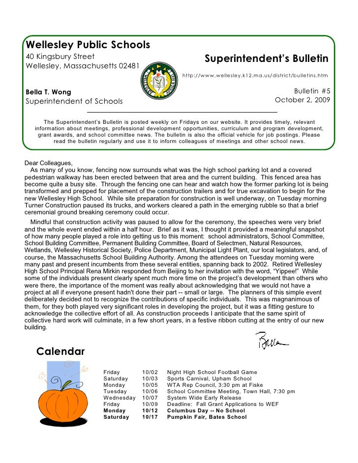 Wellesley Public Schools 40 Kingsbury Street                                               Superintendent's Bulletin Welle...
