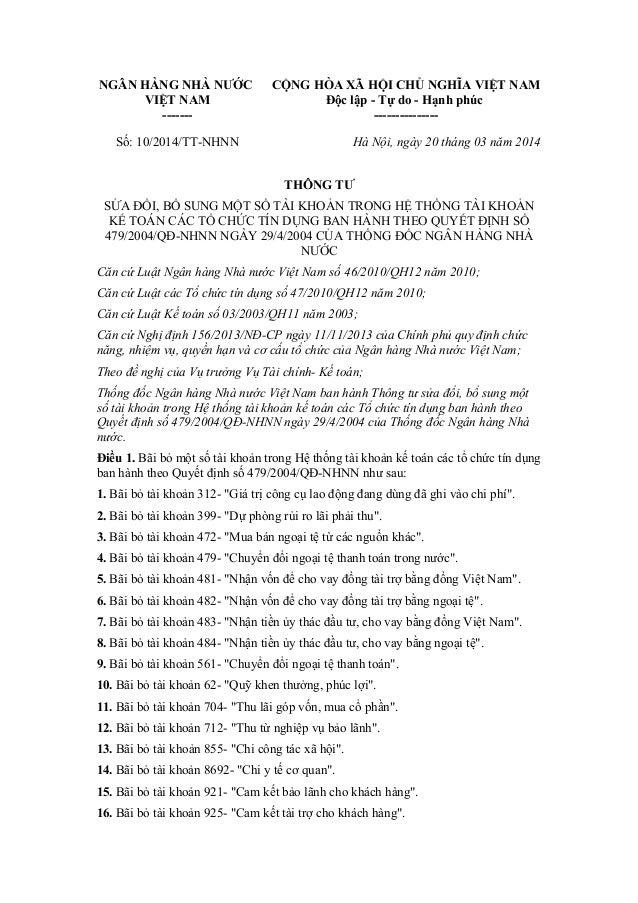 NGÂN HÀNG NHÀ NƯỚC VIỆT NAM ------- CỘNG HÒA XÃ HỘI CHỦ NGHĨA VIỆT NAM Độc lập - Tự do - Hạnh phúc --------------- Số: 10/...