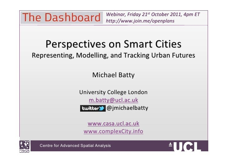 Urban Systems Collaborative Seminar | Michael Batty,  Perspectives on Smart Cities - Representing, Modeling, and Tracking Urban Futures