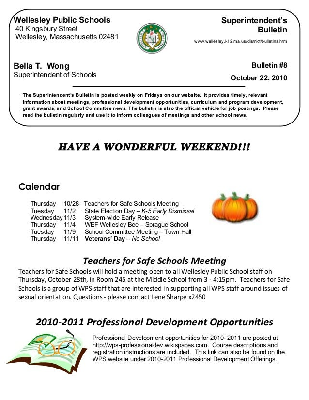HAVE A WONDERFUL WEEKEND!!! Calendar Thursday 10/28 Teachers for Safe Schools Meeting Tuesday 11/2 State Election Day – ...