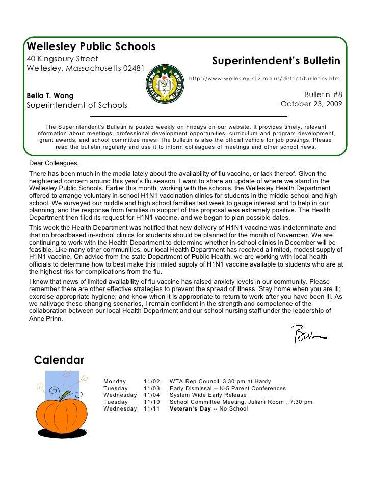 Superintendent's Bulletin 10 23 09
