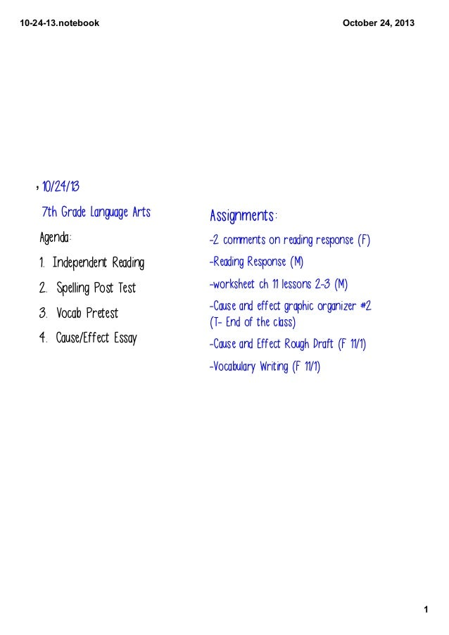 10­24­13.notebook  October 24, 2013  , 10/24/13 7th Grade Language Arts  Assignments:  Agenda:  -2 comments on reading res...
