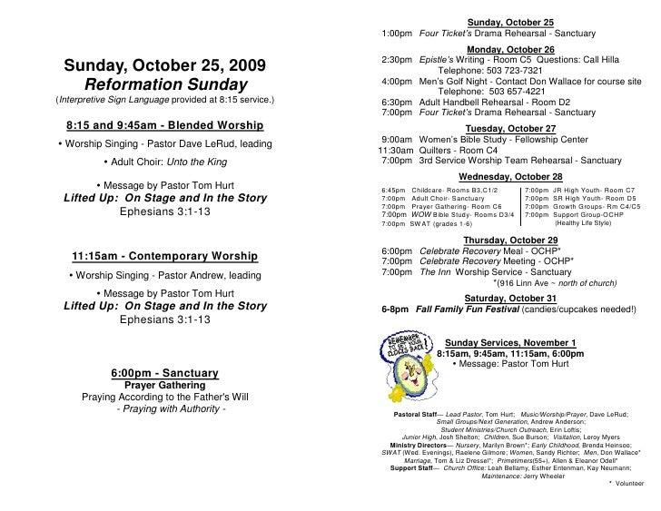 Sunday, October 25                                                          1:00pm Four Ticket's Drama Rehearsal - Sanctua...