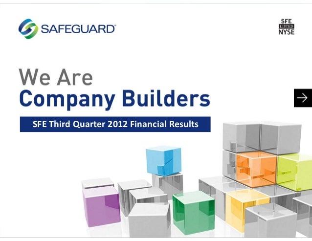 SFEThirdQuarter2012FinancialResults
