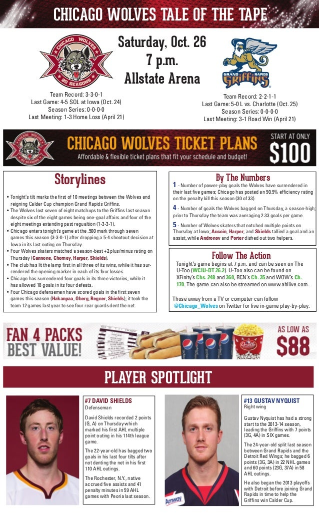 CHICAGO WOLVES TALE OF THE TAPE Saturday, Oct. 26 7 p.m. Allstate Arena Team Record: 3-3-0-1 Last Game: 4-5 SOL at Iowa (O...