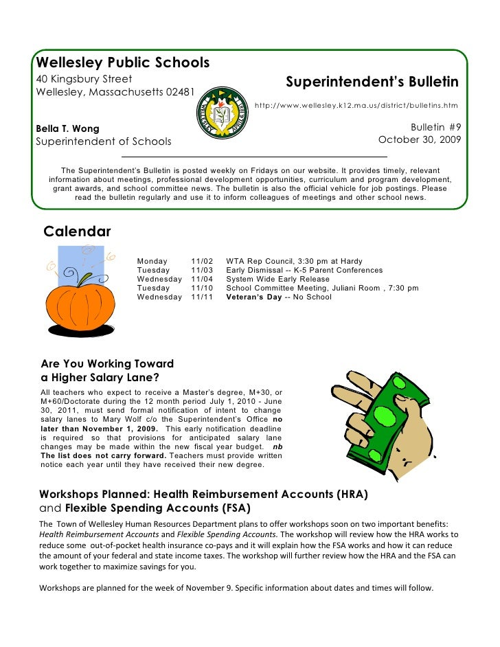 Superintendent's Bulletin 10-30-09