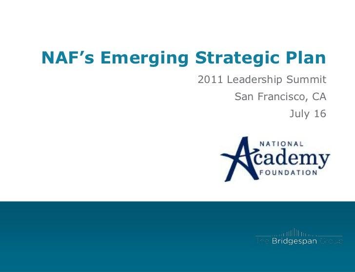 Partnering on NAF's Strategic Plan
