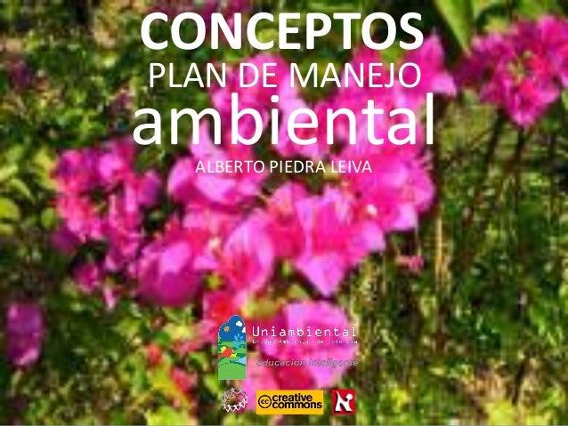 PLAN DE MANEJO ALBERTO PIEDRA LEIVA ambiental CONCEPTOS