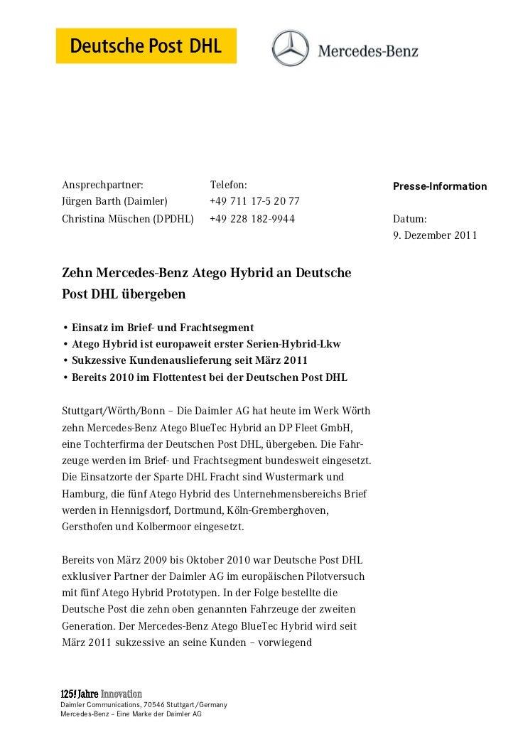 Ansprechpartner:                         Telefon:                 Presse-InformationJürgen Barth (Daimler)                ...