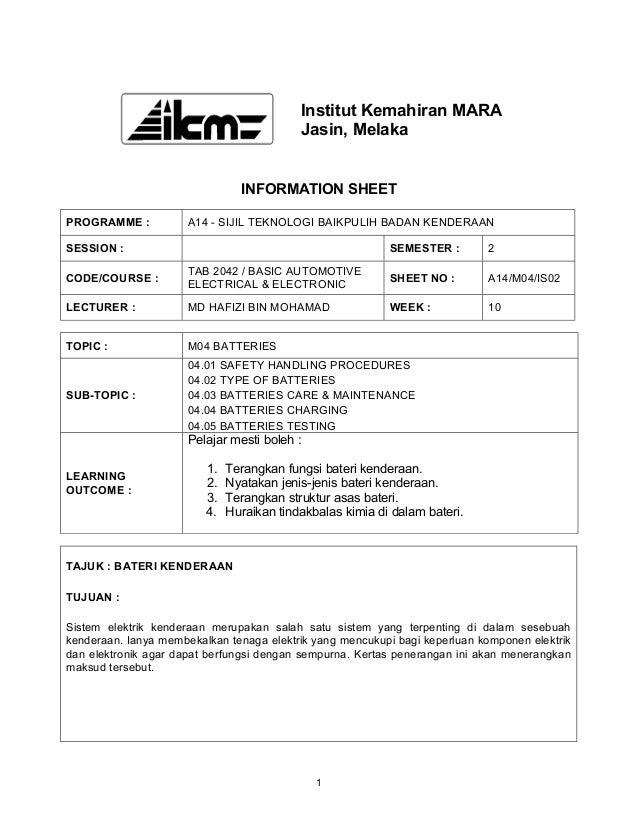 Institut Kemahiran MARA                                           Jasin, Melaka                                INFORMATION...