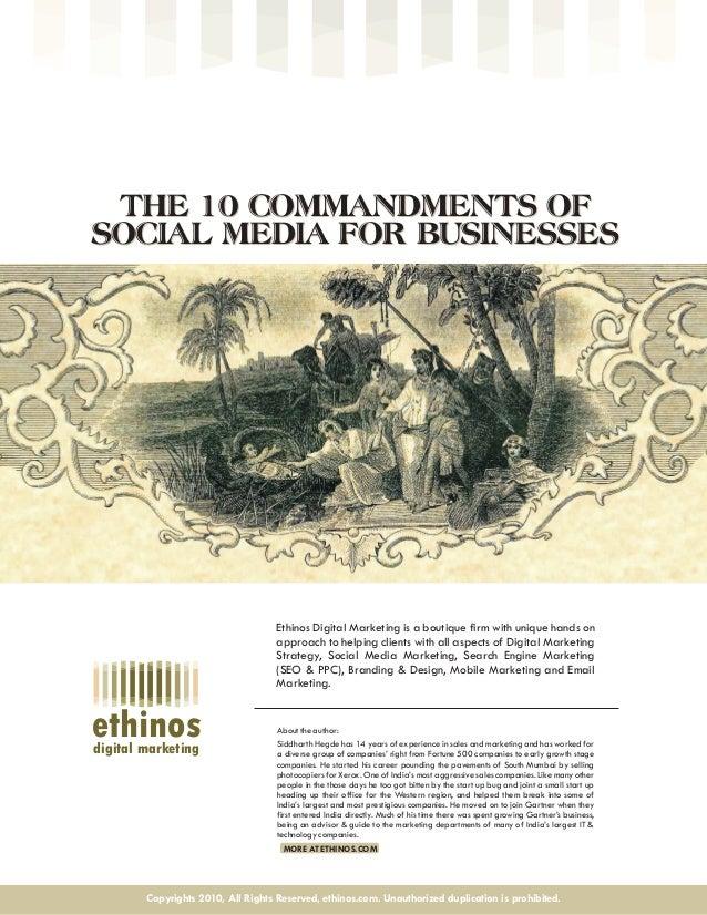 10 commandments of Social Media    (social media for b2b business, managing social media influence, using social media for crisis management)