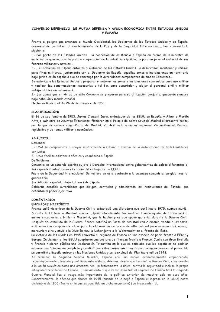 CONVENIO DEFENSIVO, DE MUTUA DEFENSA Y AYUDA ECONÓMICA ENTRE ESTADOS UNIDOS                                  Y ESPAÑAFrent...