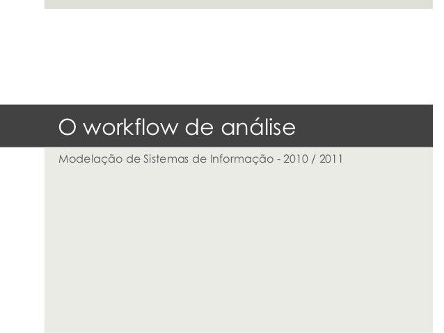 O workflow de análiseModelação de Sistemas de Informação - 2010 / 2011