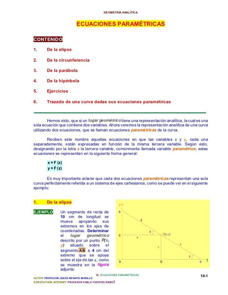 GEOMETRÍA ANALÍTICA                          ECUACIONES PARAMÉTRICASCONTENIDO1.      De la elipse2.      De la circunferen...