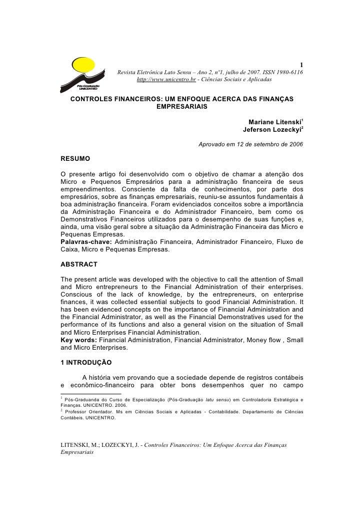 1                       Revista Eletrônica Lato Sensu – Ano 2, nº1, julho de 2007. ISSN 1980-6116                         ...