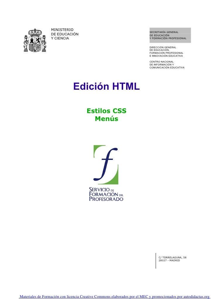 10. Edicion Html. Estilos Edicion Html. Menus   0001