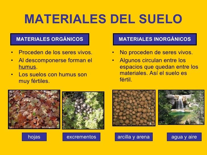 Tema 10 el suelo la vegetaci n y la fauna for Materiales para suelos