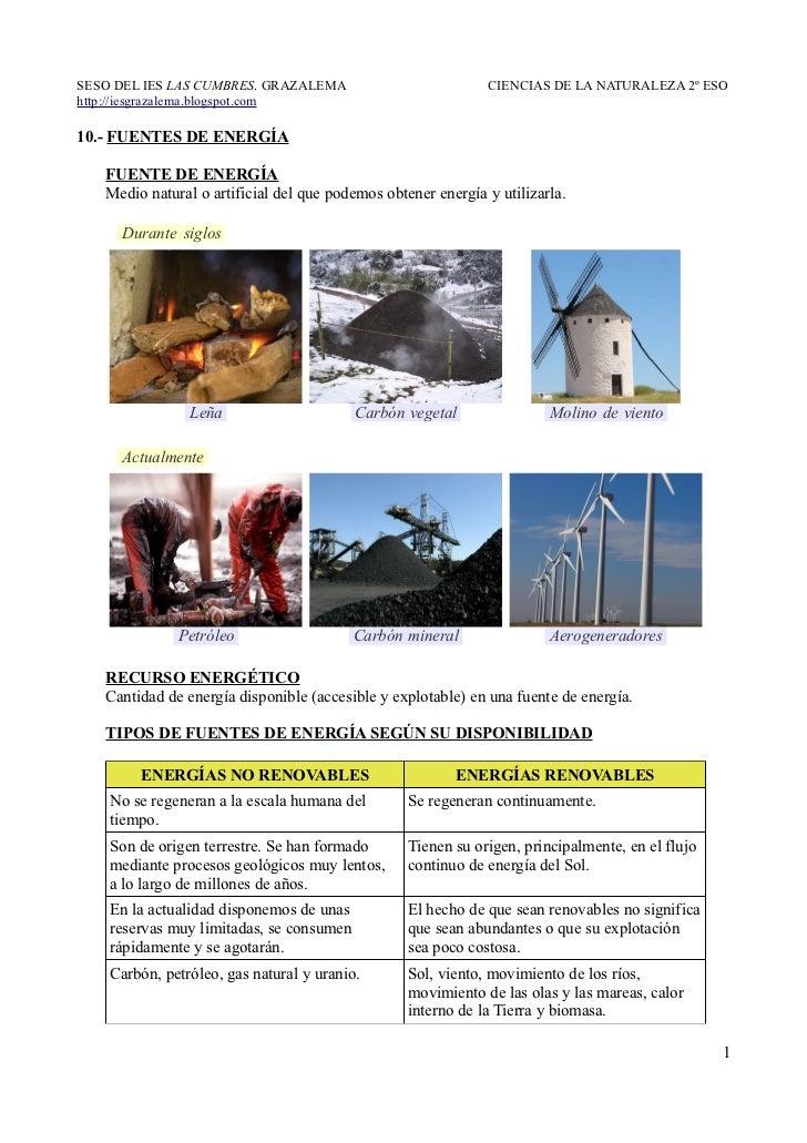 10.- Fuentes de energía