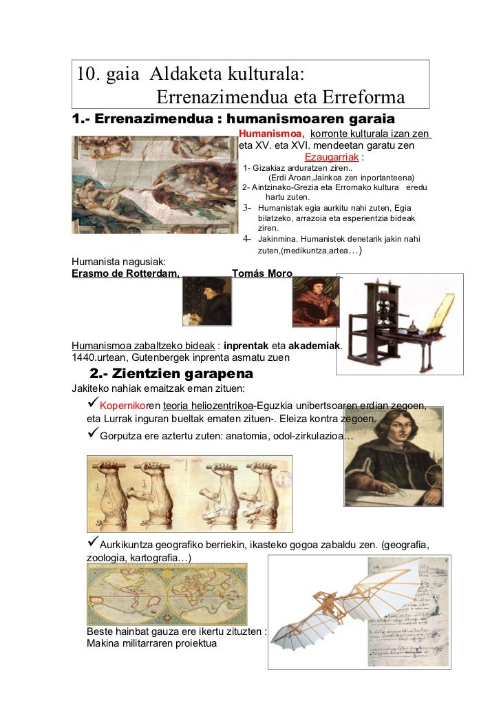 10. gaia Aldaketa kulturala:         Errenazimendua eta Erreforma1.- Errenazimendua : humanismoaren garaia                ...
