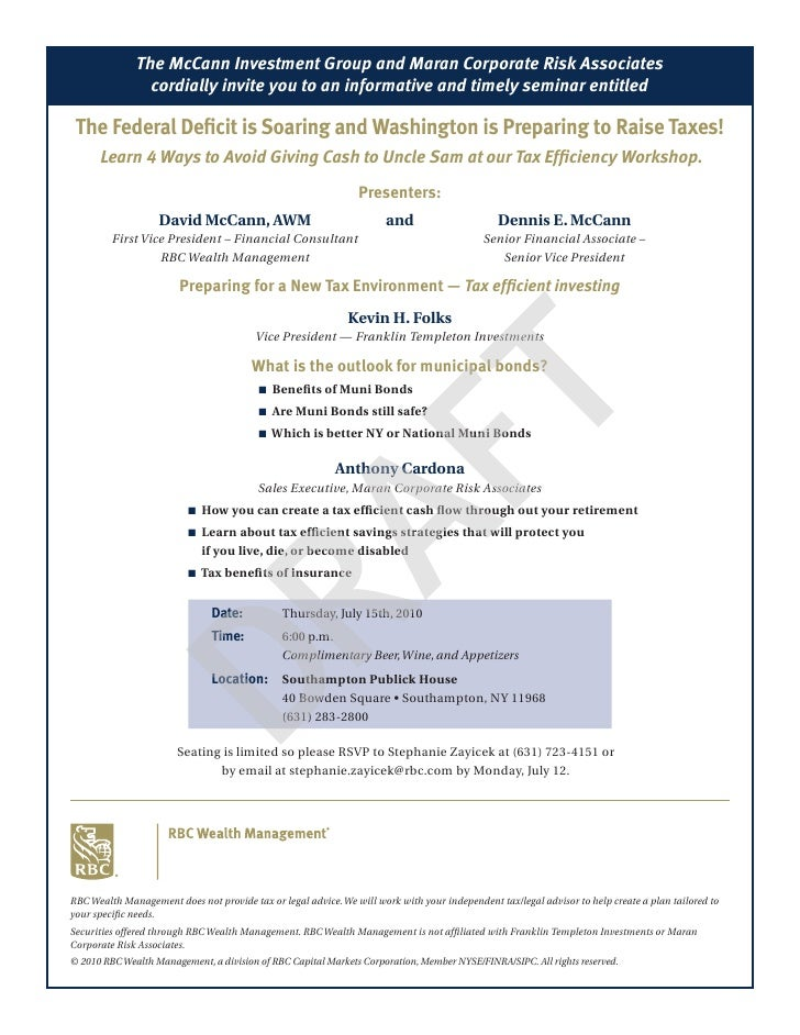 The McCann Investment Group and Maran Corporate Risk Associates                 cordially invite you to an informative and...
