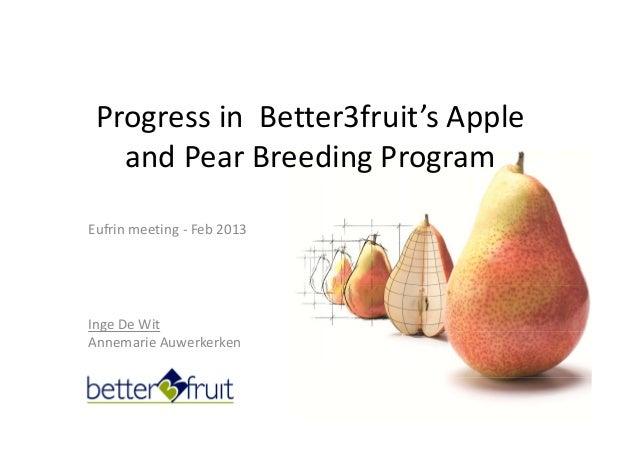 IngeDeWit AnnemarieAuwerkerken Progress inBetter3fruit'sApple andPear Breeding Program Eufrin meeting‐ Feb 2013