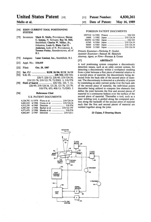United States Patent [19] Mello et al. [54] EDDY CURRENT TOOL POSITIONING SYSTEM [75] Inventors: Mark D. Mello, Providence...