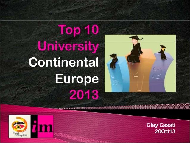 Le 10 migliori Università Europee 2013