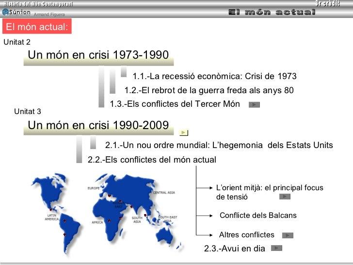 El món actual: Un món en crisi 1973-1990 Unitat 2 Unitat 3 Un món en crisi 1990-2009 1.1.- La recessió econòmica :  Crisi ...